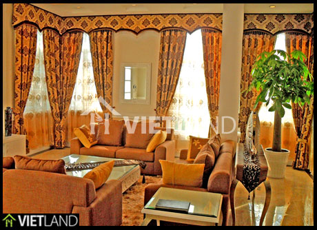 Villa for rent near the Hoa Binh Tower on Hoang Quoc Viet Road, Cau Giay district, Ha Noi